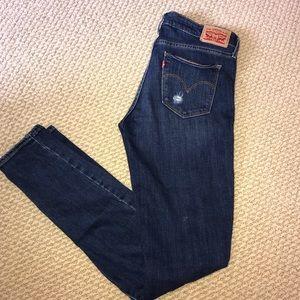 Levi's Distressed, Dark Washed Skinny Jeans